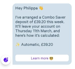 What an automatic saving from Plum looks like